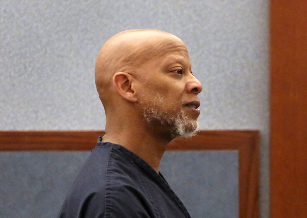 Arthur Sewall, a former Metropolitan Police Department officer, appears in court during his initial court appearance at the Regional Justice Center on Monday, Jan. 22, 2018, in Las Vegas. Sewall i ...