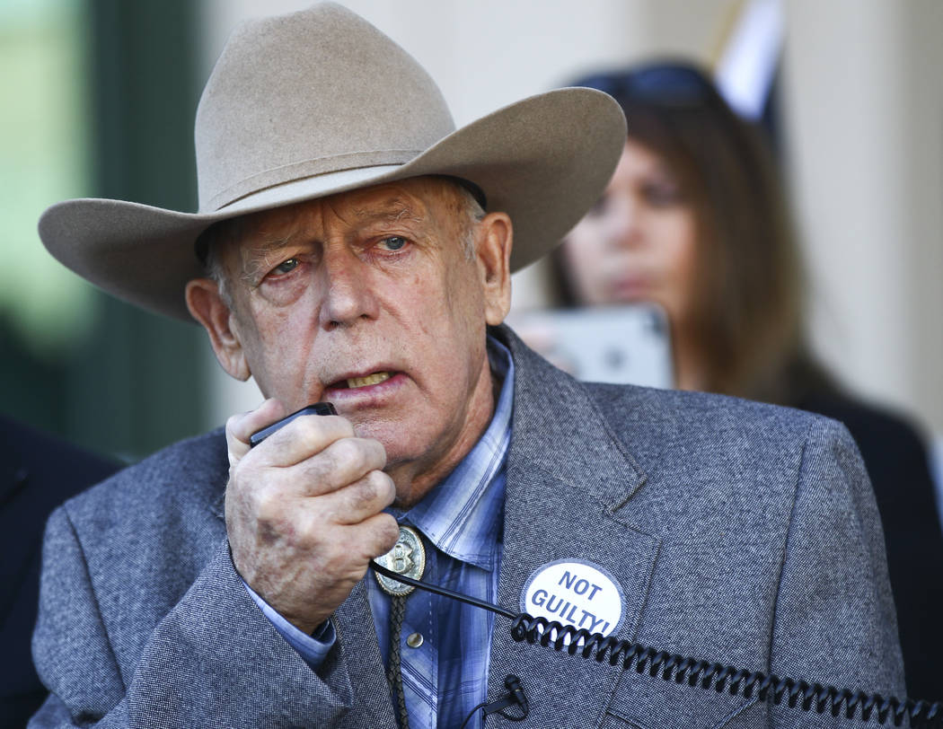 Rancher Cliven Bundy address supporters and journalists at Metropolitan Police Department headquarters two days after federal charges were dismissed against him in Las Vegas on Wednesday, Jan. 10, ...