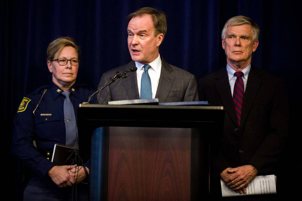 Attorney General Bill Schuette announces an open and ongoing investigation into the systemic issues with sexual misconduct at Michigan State University that began in 2017 on Saturday, Jan. 27, 201 ...