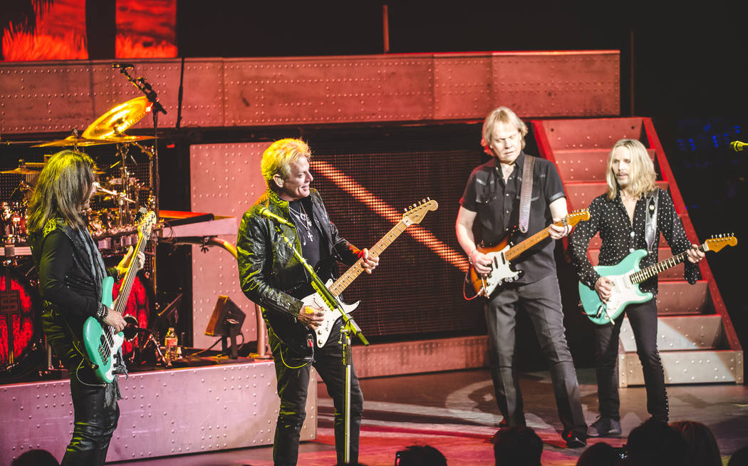 """Ricky Phillips, Don Felder, James """"J.Y."""" Young and Tommy Shaw are shown during """"Renegades in the Fast Lane"""" at Venetian Theater on Friday, Jan. 26, 2018 (Steve Rose)"""