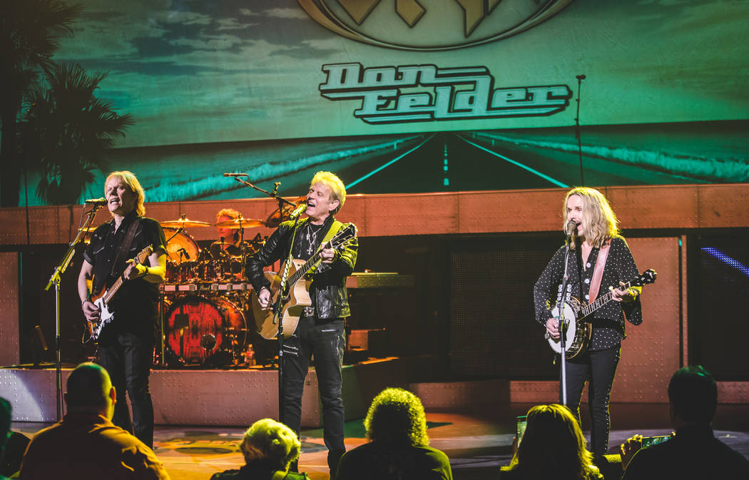 "James ""J.Y."" Young, Don Felder and Tommy Shaw are shown during ""Renegades in the Fast Lane"" at Venetian Theater on Friday, Jan. 26, 2018 (Steve Rose)"