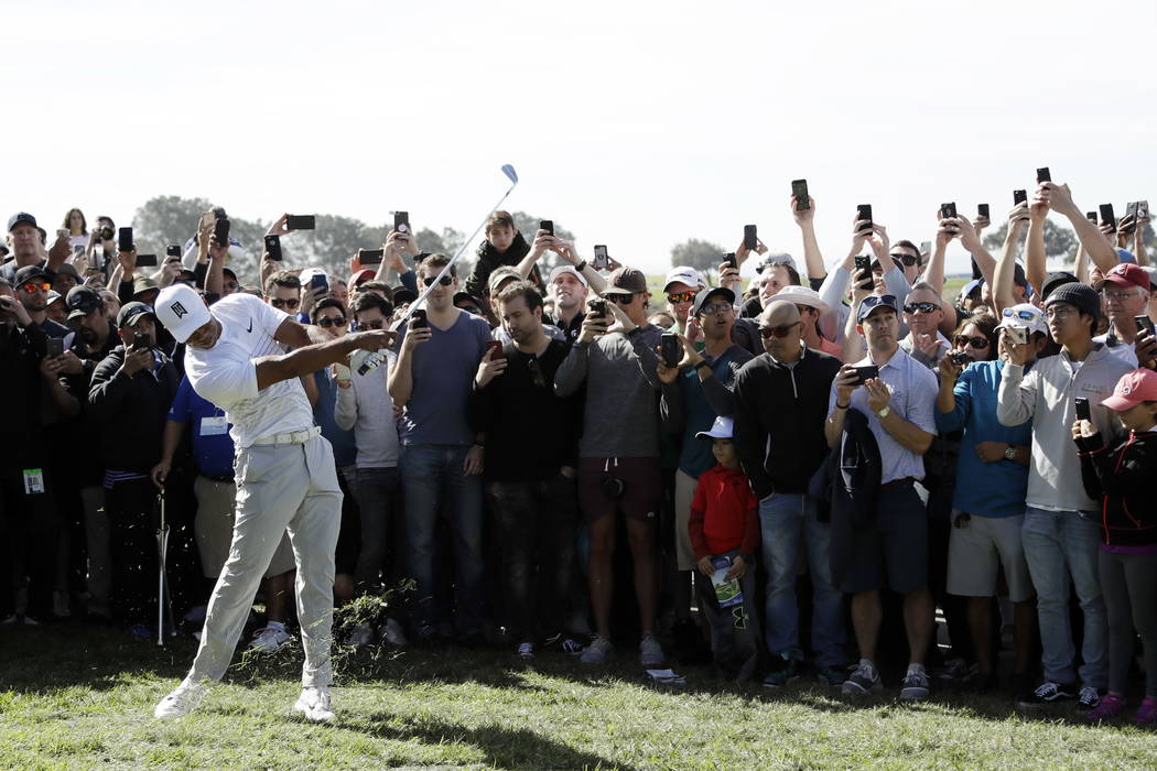 Fans record with cell phones as Tiger Woods hits from the rough on the 14th hole of the South Course at Torrey Pines Golf Course during the third round of the Farmers Insurance Open golf tournamen ...