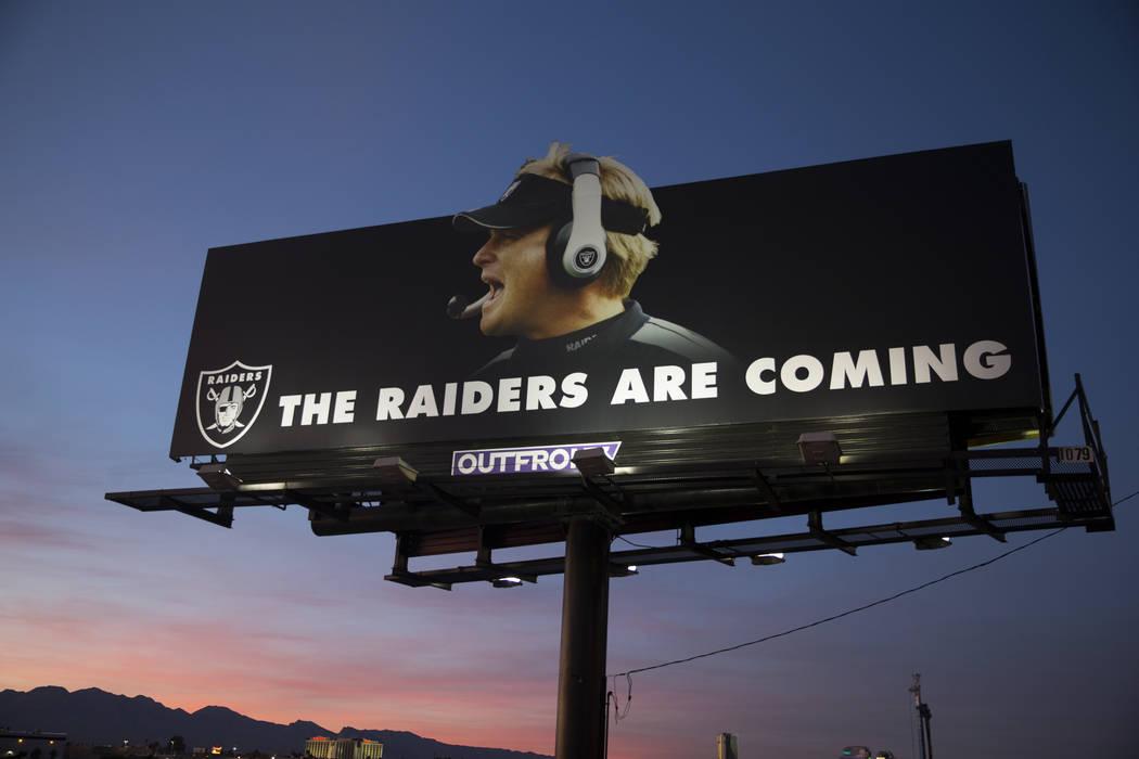 A Raiders billboard shows a picture of the team's new head coach Jon Gruden at the site of their future stadium in Las Vegas, Saturday, Jan. 27, 2018. Erik Verduzco Las Vegas Review-Journal @Erik_ ...