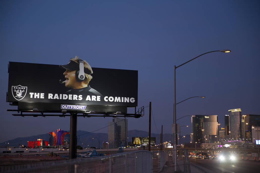 A Raiders billboard shows a picture of the team's new head coach Jon Gruden at the site of their future stadium in Las Vegas, Saturday, Jan. 27, 2018. Erik Verduzco Las Vegas Review-Journal @Erik_ ...