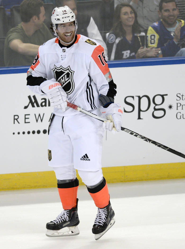 Pacific Division's James Neal, of the Vegas Golden Knights, smiles after scoring during the NHL hockey All-Star game with the Central Division Sunday, Jan. 28, 2018 in Tampa, Fla. (AP Photo/Jason  ...