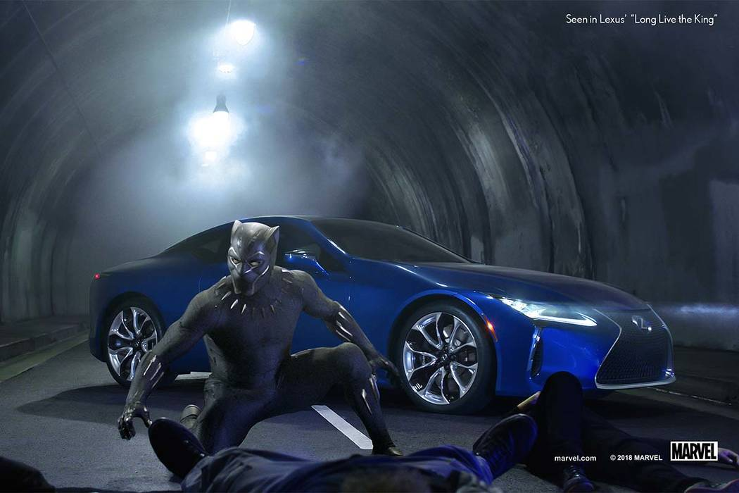 "This photo provided by Lexus shows an image of the Lexus ""Black Panther"" Super Bowl spot. For the 2018 Super Bowl, marketers are paying more than $5 million per 30-second spot to ..."