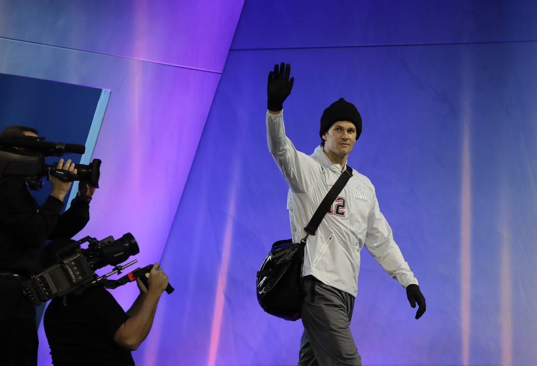 New England Patriots' Tom Brady is introduced during NFL football Super Bowl 52 Opening Night Monday, Jan. 29, 2018, at the Xcel Center in St. Paul, Minn. (AP Photo/Eric Gay)