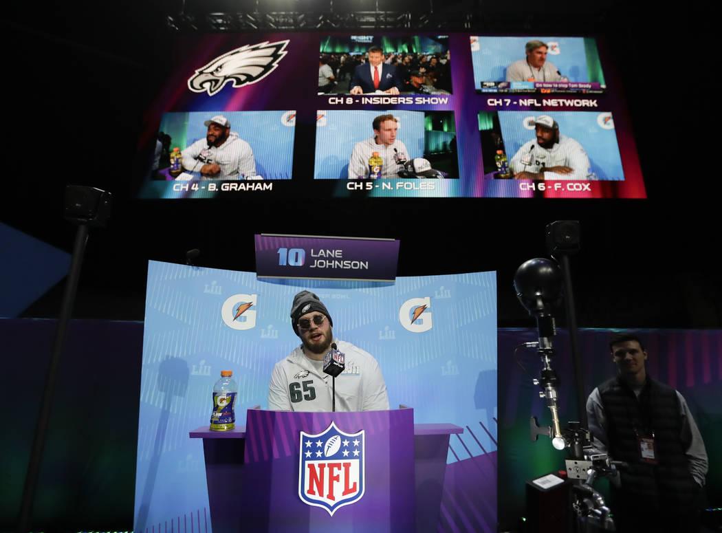 Philadelphia Eagles' Lane Johnson speaks during NFL football Super Bowl 52 Opening Night Monday, Jan. 29, 2018, at the Xcel Center in St. Paul, Minn. (AP Photo/Eric Gay)