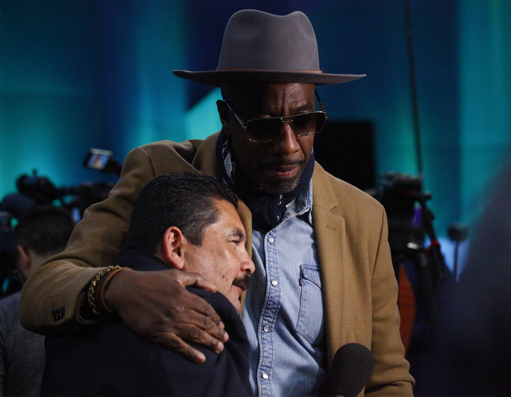 Comedian and actor J.B. Smoove with Jimmy Kimmel's Guillermo during Opening Night at the Xcel Energy Center in St. Paul, Minn., Monday, Jan. 29, 2018. Heidi Fang Las Vegas Review-Journal @HeidiFang