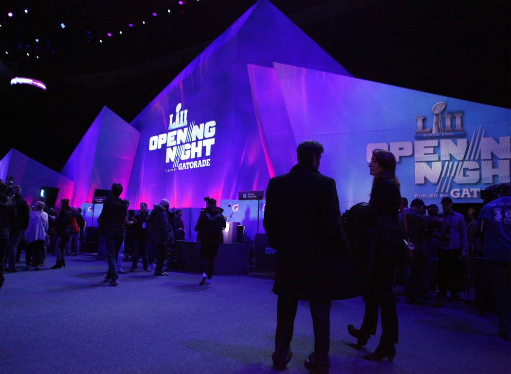 Media gathers at the Xcel Energy Center Super Bowl 52 Opening Night in St. Paul, Minn., Monday, Jan. 29, 2018. Heidi Fang Las Vegas Review-Journal @HeidiFang