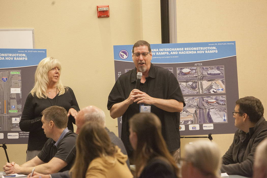 Environmental Manager for Department of Transportation Christopher Young speaks at the Clark County Development Services Center in Las Vegas, Tuesday, Jan. 30, 2018. The Nevada Department of Trans ...