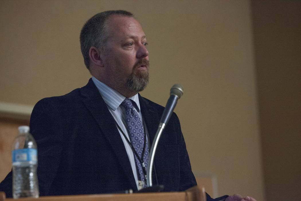 Senior Project Manager Jeff Lerud speaks at the Clark County Development Services Center in Las Vegas, Tuesday, Jan. 30, 2018. The Nevada Department of Transportation held a public meeting to disc ...