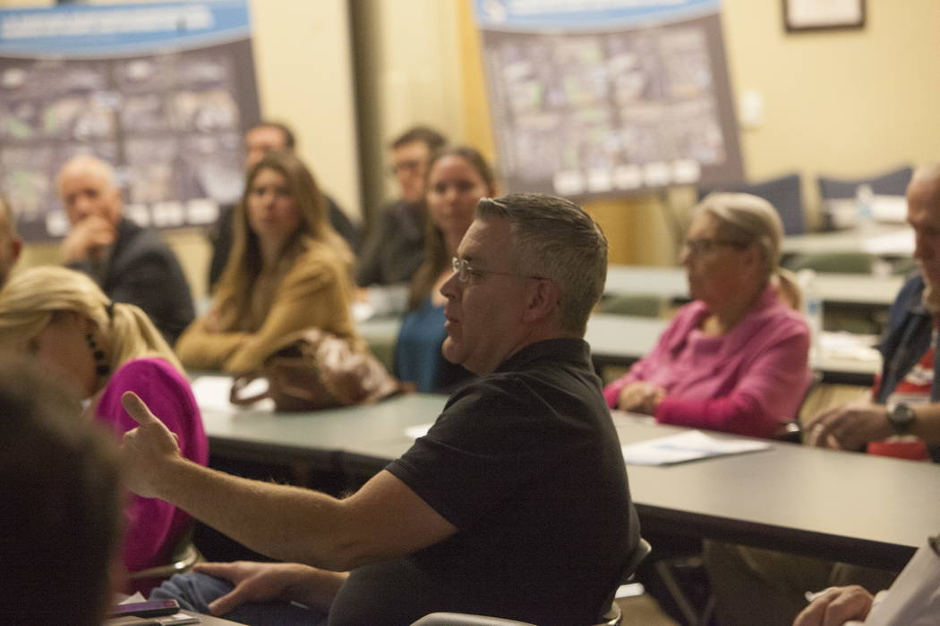 Ken Smith, a southwest valley resident, asks a question at the Clark County Development Services Center in Las Vegas, Tuesday, Jan. 30, 2018. The Nevada Department of Transportation held a public  ...