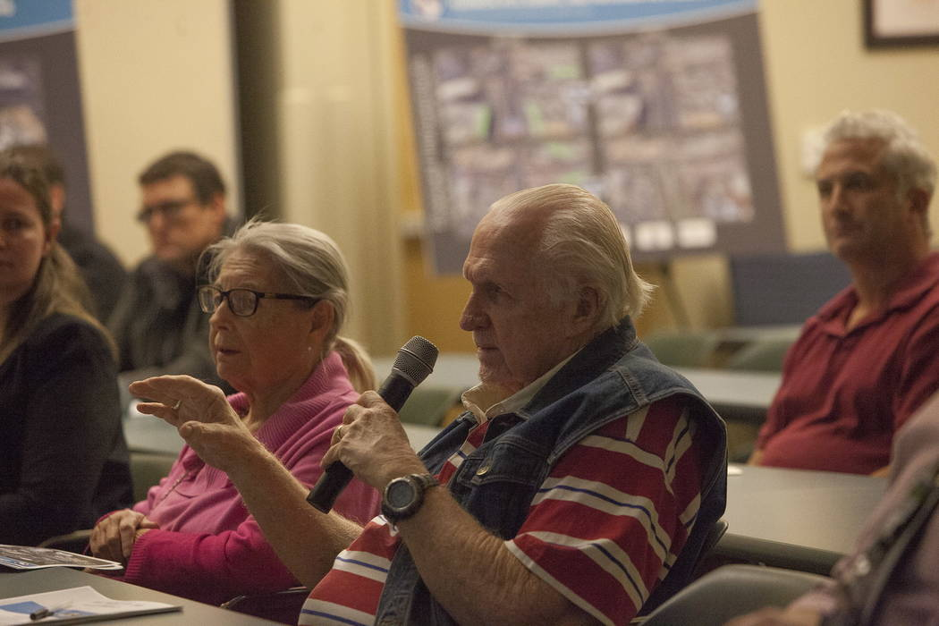 Bob Swan asks a question at the Clark County Development Services Center in Las Vegas, Tuesday, Jan. 30, 2018. The Nevada Department of Transportation held a public meeting to discuss improvements ...