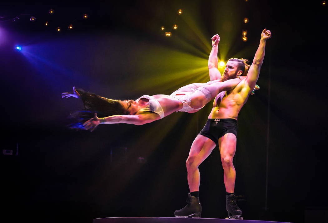 """The Skates of Hell act, starring Emily and Billy England, in """"Absinthe"""" at Caesars Palace. (Erik Kabik)"""
