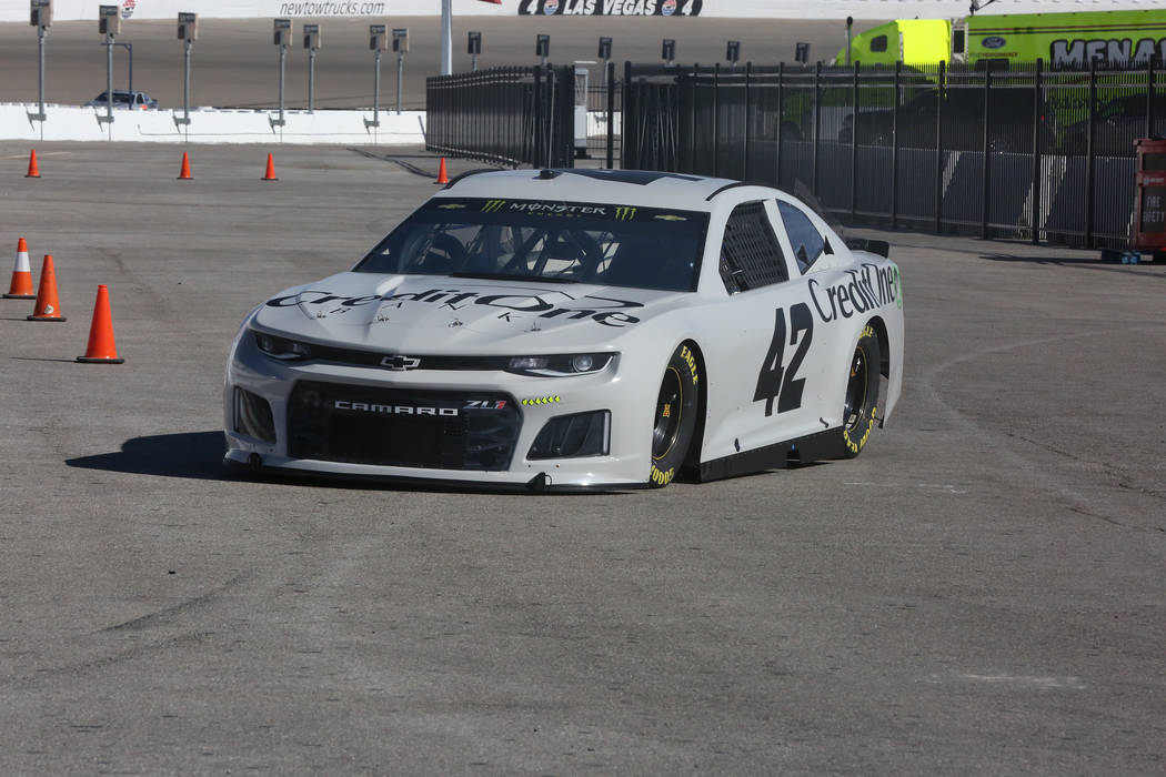 Kyle LarsonÕs Chevrolet Camaro #42 heads for the track during a two-day NASCAR driver test session at Las Vegas Motor Speedway on Wednesday, January 31, 2018. Michael Quine Las Vegas Review-J ...
