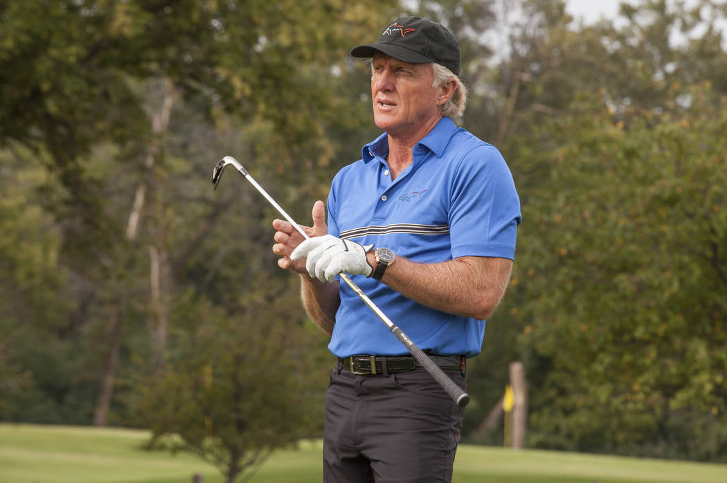 Golf Legend and OMEGA Ambassador Greg Norman hosts an exclusive golf clinic for VIP guests on Tuesday, September 9, 2014 at Oak Park Country Club in River Grove, IL. (Photo by Barry Brecheisen/Inv ...