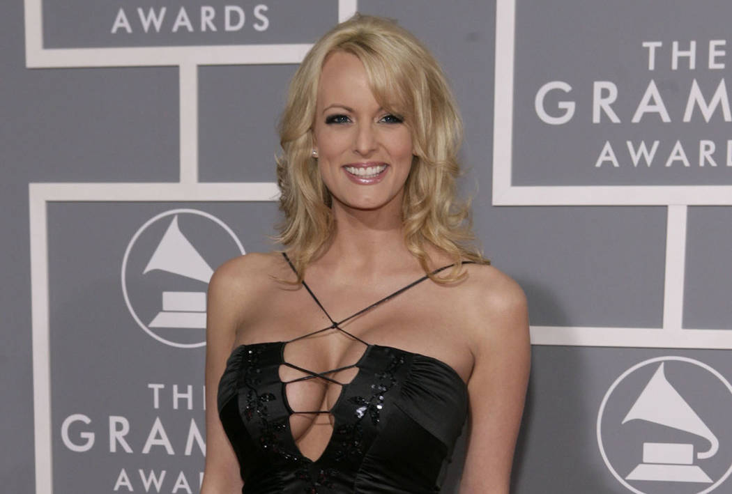 Stormy Daniels arrives for the 49th Annual Grammy Awards in Los Angeles in 2007. (AP Photo/Matt Sayles)