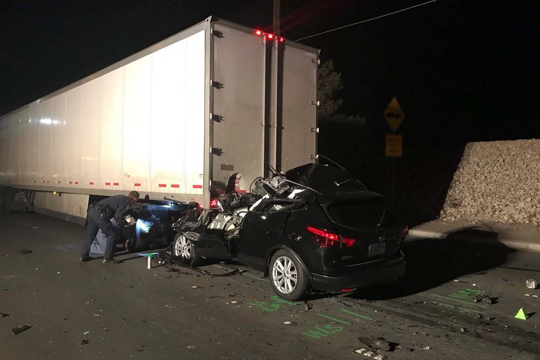 The collision involving a semitruck and SUV was reported near the intersection of North Commerce Street and West Cheyenne Avenue. (North Las Vegas Police Department)