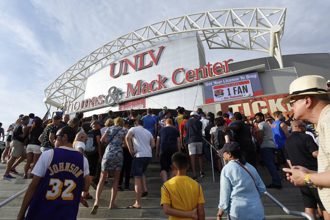 Fans stream into the Thomas & Mack Center for the championship game between Los Angles and Portland at the NBA Summer League Monday, July 17, 2017. Sam Morris/Las Vegas News Bureau