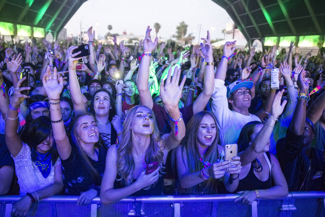 Fans cheer for Kyle on the Fremont Stage during the final day of the Life is Beautiful music and arts festival on Sunday, September 24, 2017, in Las Vegas. Benjamin Hager Las Vegas Review-Journal  ...