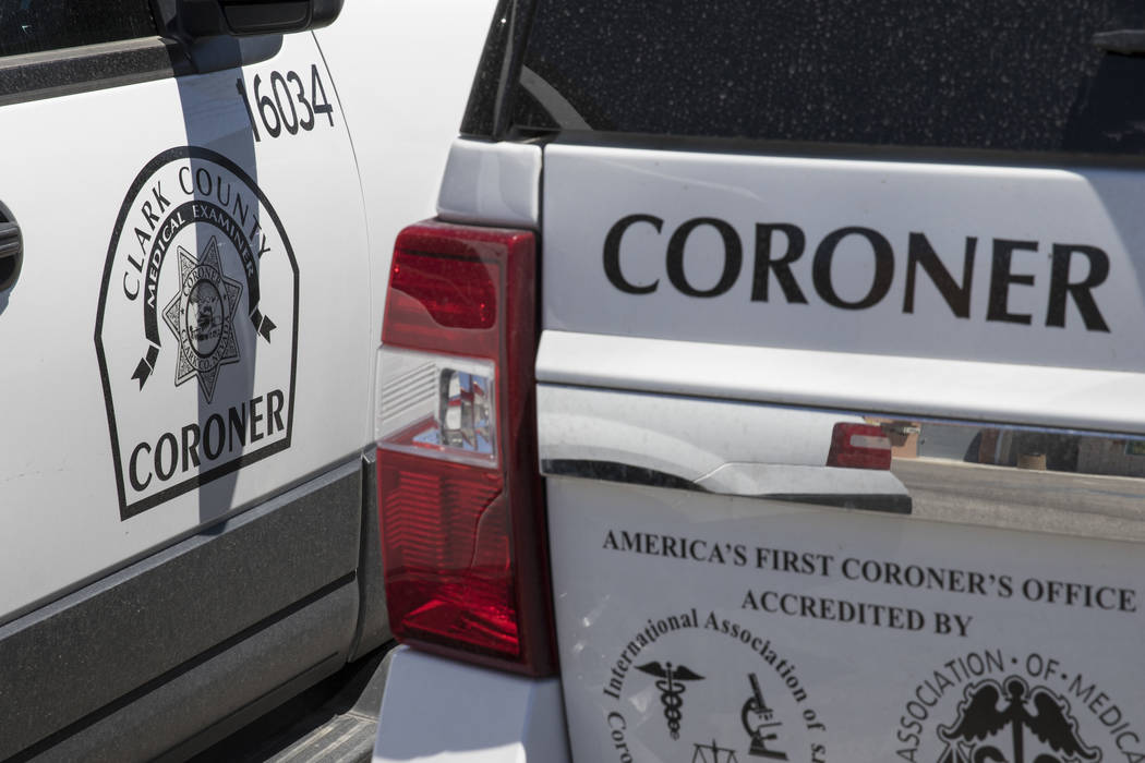 Clark County Coroner and Medical Examiner vehicles parked at their headquarters located at 1704 Pinto Lane in Las Vegas on Tuesday, May 23, 2017. Richard Brian Las Vegas Review-Journal @vegasphoto ...