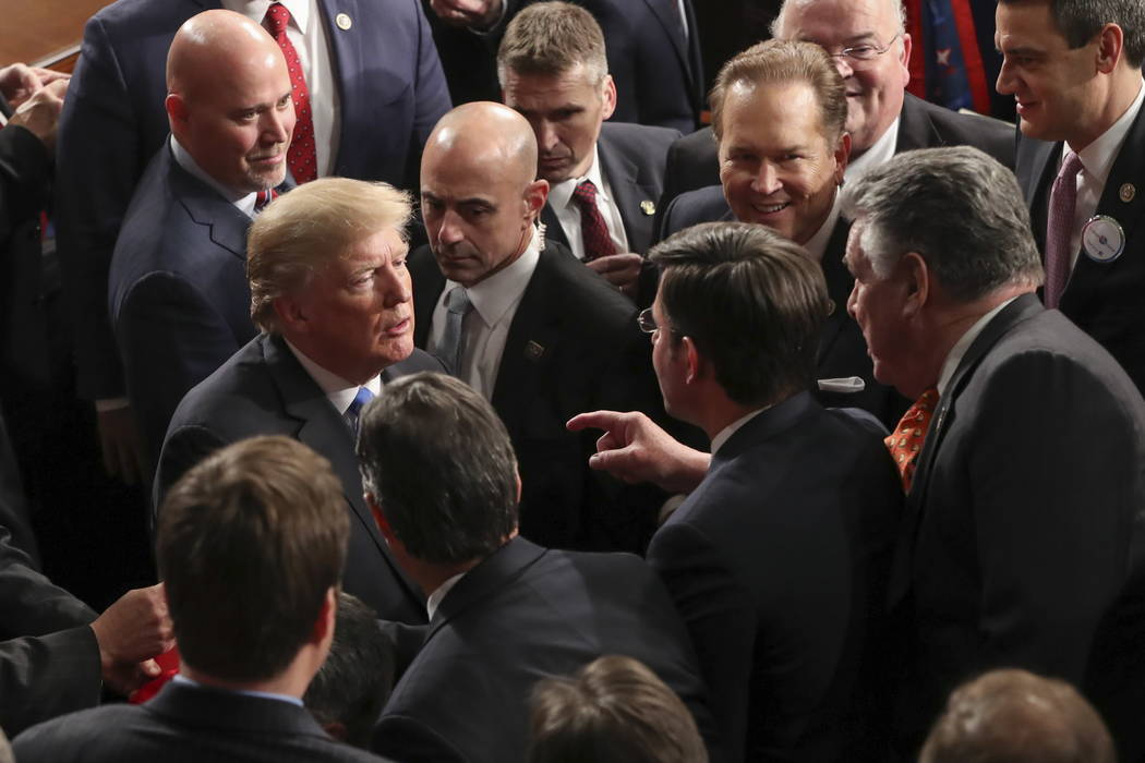 President Donald Trump leaves after the State of the Union address to a joint session of Congress on Capitol Hill in Washington, Tuesday, Jan. 30, 2018. (AP Photo/Pablo Martinez Monsivais)