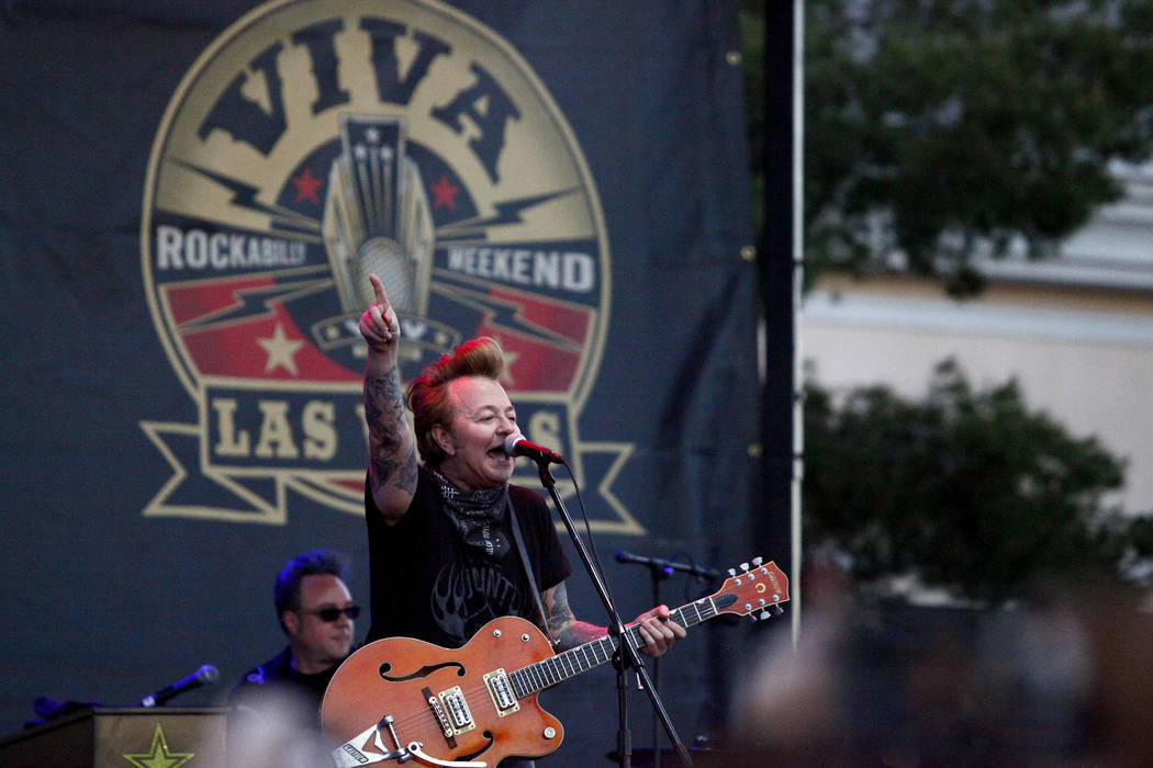 Rockabilly pioneer, Brian Setzer performs at the 19th Annual Viva Las Vegas Rockabilly Weekender at the Orleans Hotel and Casino on Saturday, April 16, 2016. (Michael Quine/Las Vegas Review-Journa ...