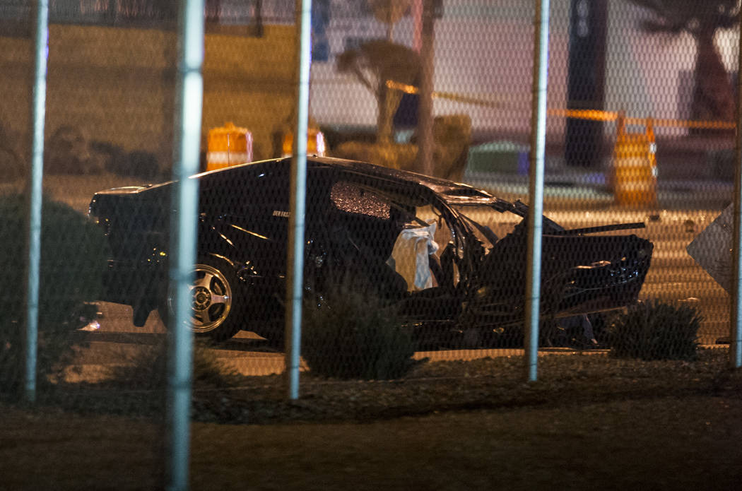 A car at the scene of a fatal multi-vehicle accident near of East Sahara Avenue and South Nellis Boulevard in Las Vegas on Tuesday, Jan. 30, 2018. Two people were killed and two others were injure ...