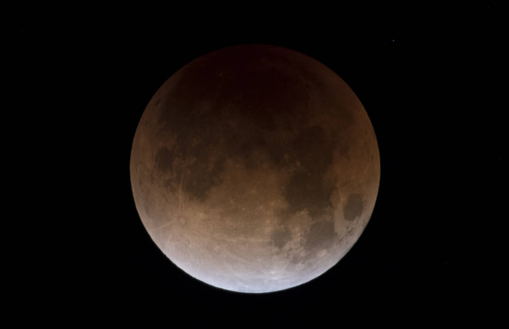 A partially eclipsed super blue blood moon, Wednesday, Jan. 31, 2018 in Las Vegas. (Richard Brian/Las Vegas Review-Journal)