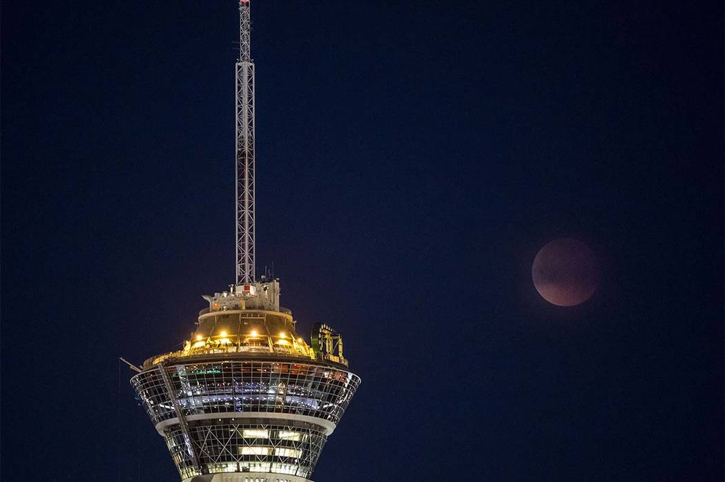 The Super Blue Blood Moon over the Stratosphere in Las Vegas on Wednesday, Jan. 31, 2018.  Patrick Connolly Las Vegas Review-Journal @PConnPie