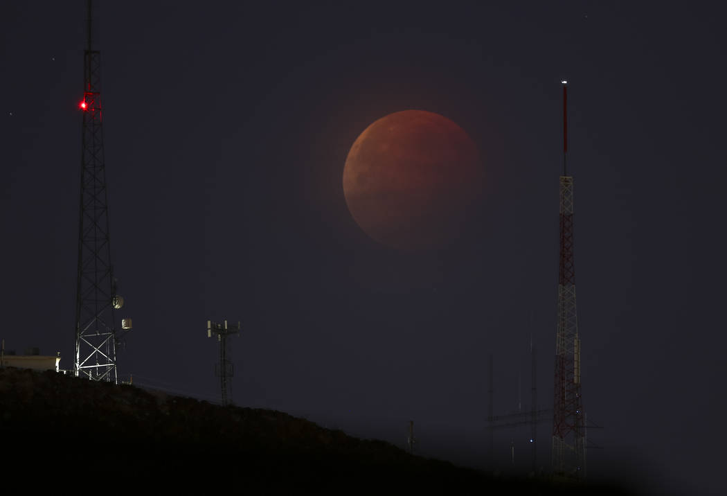 A partially eclipsed super blue blood moon, Wednesday, Jan. 31, 2018 in Las Vegas. Richard Brian/Las Vegas Review-Journal @vegasphotograph