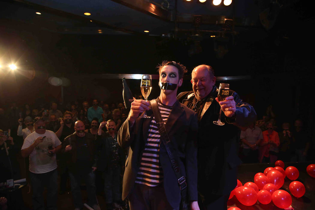 Tape Face and Robin Leach at The Flamingo on Wednesday, Feb. 22, 2017, in Las Vegas. (Gabe Ginsberg)