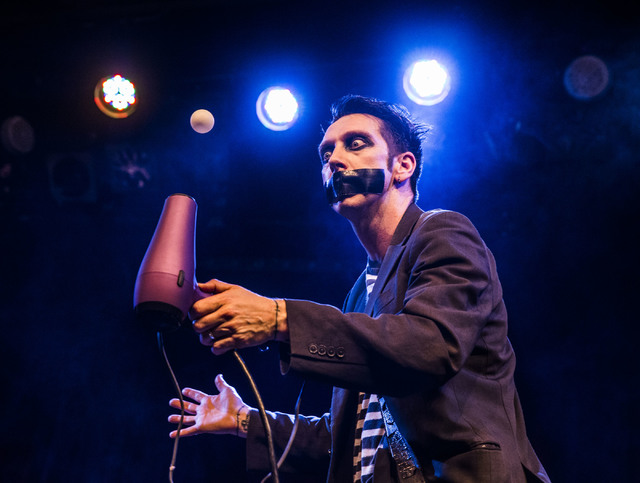 Sam Wills, aka Tape Face, an America's Got Talent Season 11 finalist, performs at the Flamingo hotel-casino on Friday, Feb. 24, 2017, in Las Vegas.  (Benjamin Hager/Las Vegas Review-Journal) @benj ...