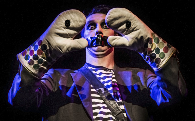 Sam Wills, aka Tape Face, an America's Got Talent Season 11 finalist, performs at the Flamingo hotel-casino on Friday, Feb. 24, 2017, in Las Vegas.  (Benjamin Hager/Las Vegas Review-Journal) @benj ...