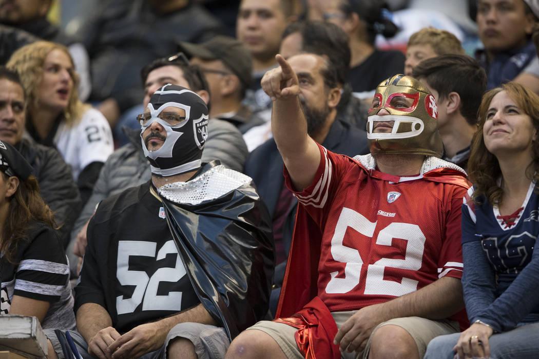 Fans during the NFL football game between the Oakland Raiders and New England Patriots at Estadio Azteca in Mexico City, Sunday, Nov. 19, 2017. New England Patriots won 33-8. Erik Verduzco Las Veg ...
