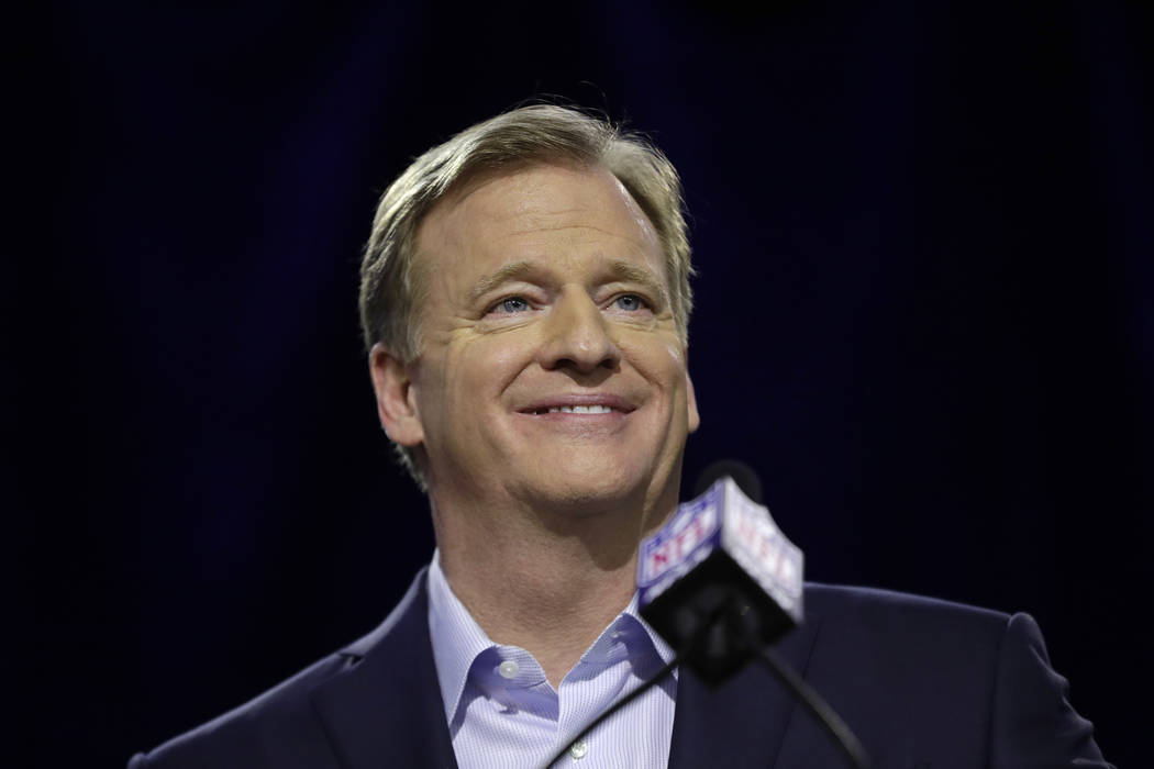 NFL Commissioner Roger Goodell smiles as he speaks during a news conference in advance of the Super Bowl 52 football game, Wednesday, Jan. 31, 2018, in Minneapolis. The Philadelphia Eagles play th ...