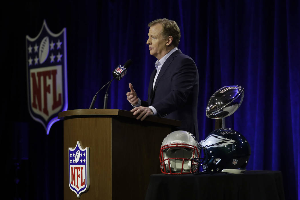 NFL Commissioner Roger Goodell speaks during a news conference in advance of the Super Bowl 52 football game, Wednesday, Jan. 31, 2018, in Minneapolis. The Philadelphia Eagles play the New England ...