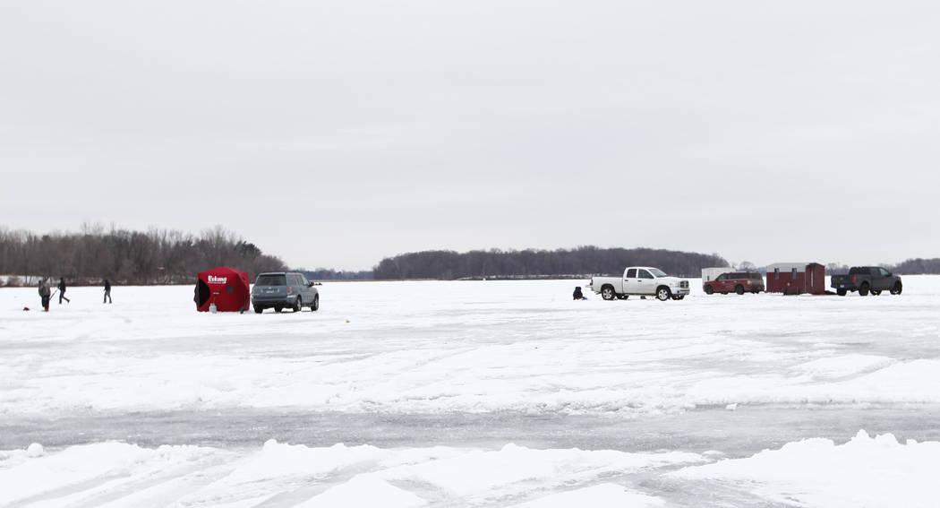 Minnesotans go ice fishing during the week of Super Bowl 52 on Lake Peltier in Anoka County, Minn., Tuesday, Jan. 30, 2018. Heidi Fang Las Vegas Review-Journal @HeidiFang