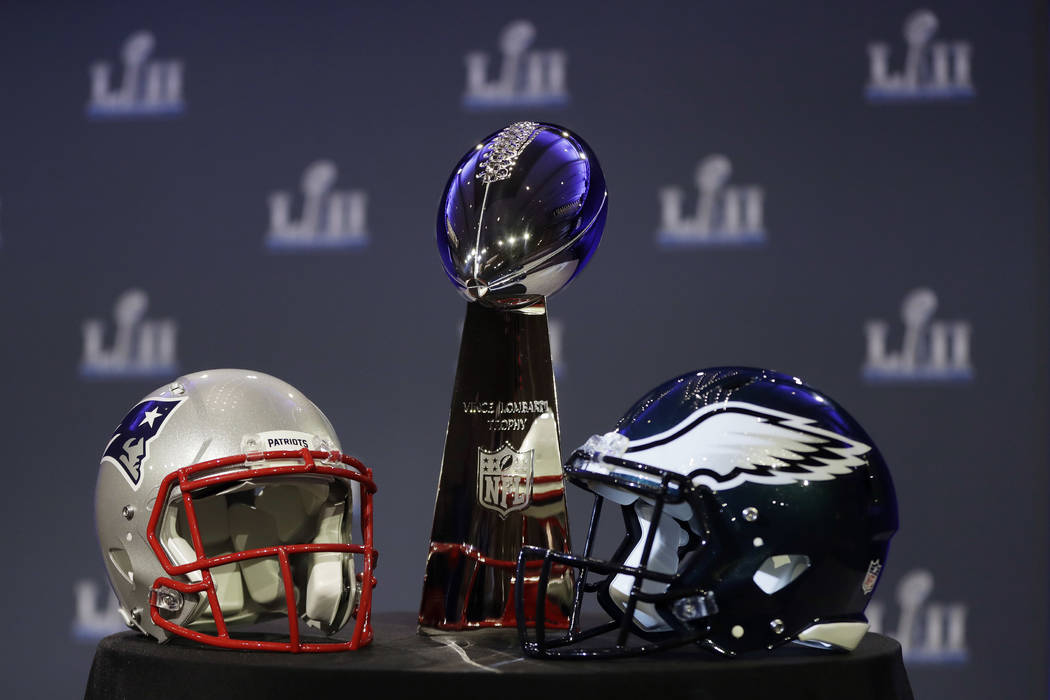 The Vince Lombardi Trophy is seen before a news conference by Commissioner Roger Goodell in advance of the Super Bowl 52 football game, Wednesday, Jan. 31, 2018, in Minneapolis. The Philadelphia E ...