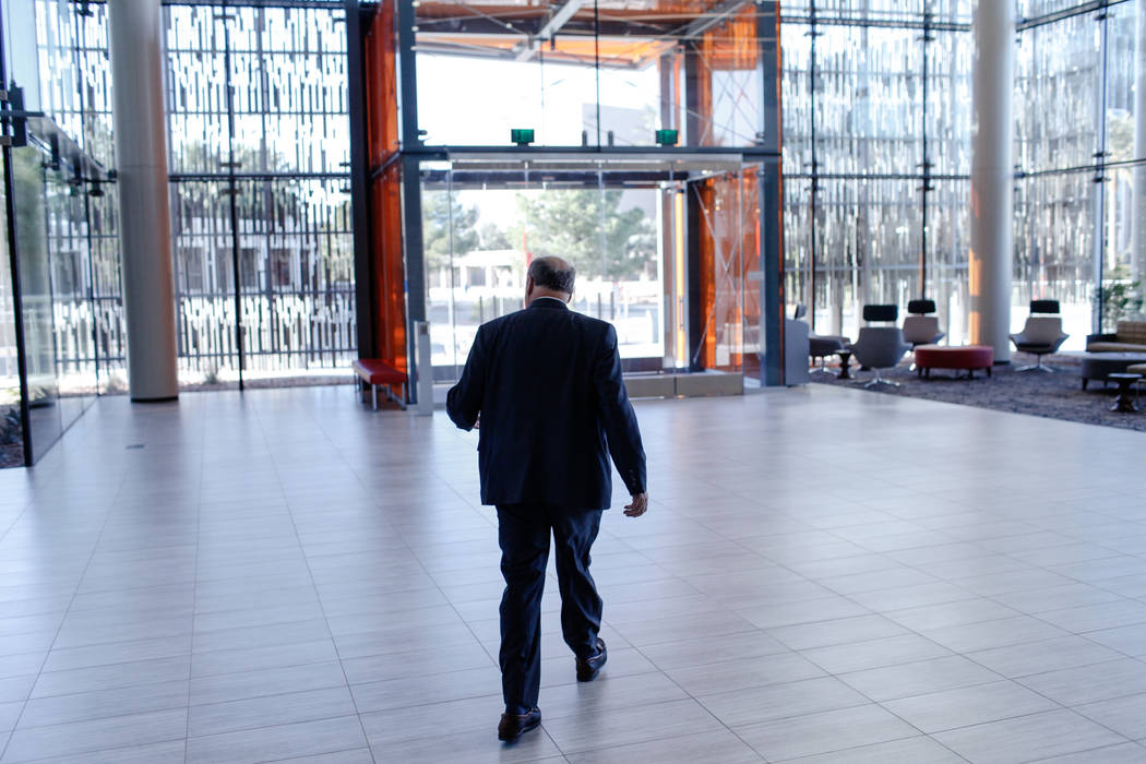 Stowe Shoemaker, dean of the William F. Harrah College of Hotel Administration, walks inside Hospitality Hall at UNLV in Las Vegas, Thursday, Dec. 21, 2017. The building is set to open in late Jan ...