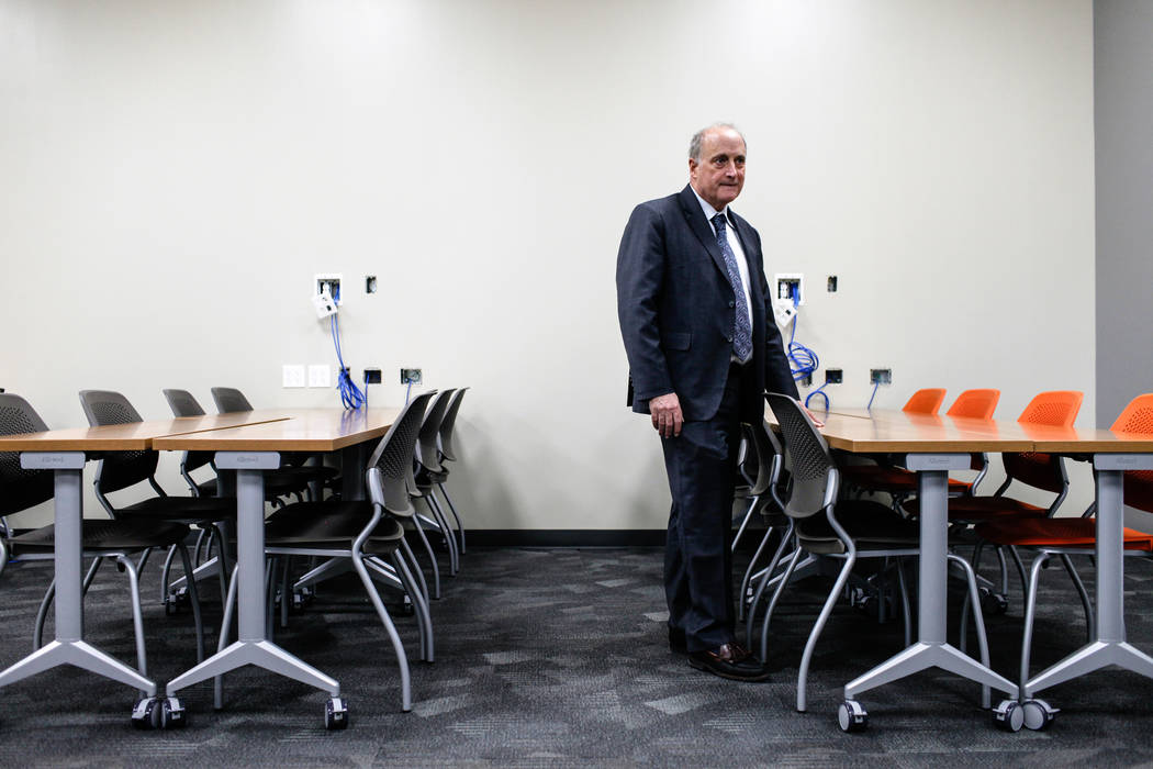 Stowe Shoemaker, dean of the William F. Harrah College of Hotel Administration, stands inside a classroom at Hospitality Hall at UNLV in Las Vegas, Thursday, Dec. 21, 2017. The building is set to  ...