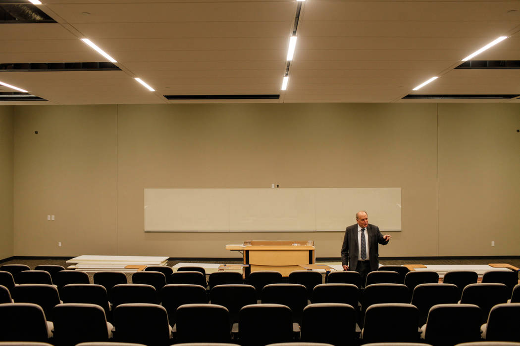 Stowe Shoemaker, dean of the William F. Harrah College of Hotel Administration, stands inside an auditorium at Hospitality Hall at UNLV in Las Vegas, Thursday, Dec. 21, 2017. The building is set t ...