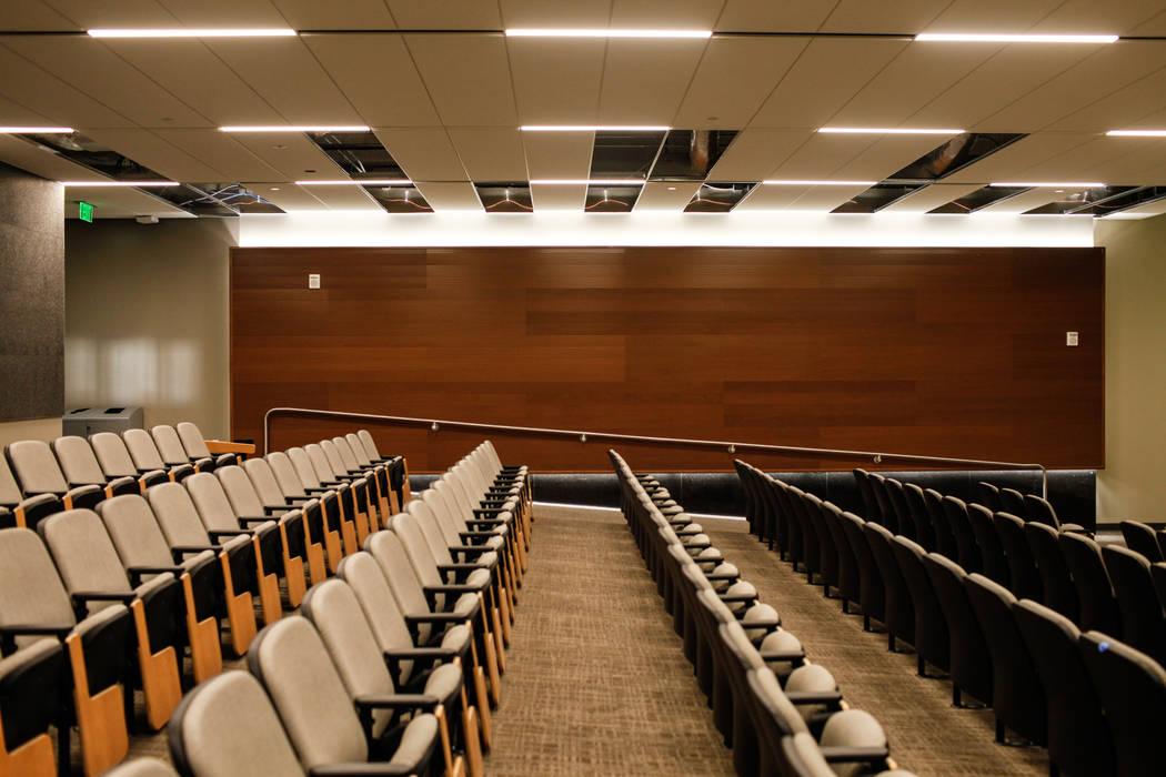 Seats inside an auditorium at Hospitality Hall at UNLV in Las Vegas, Thursday, Dec. 21, 2017. The building is set to open in late January 2018. Joel Angel Juarez Las Vegas Review-Journal @jajuarez ...