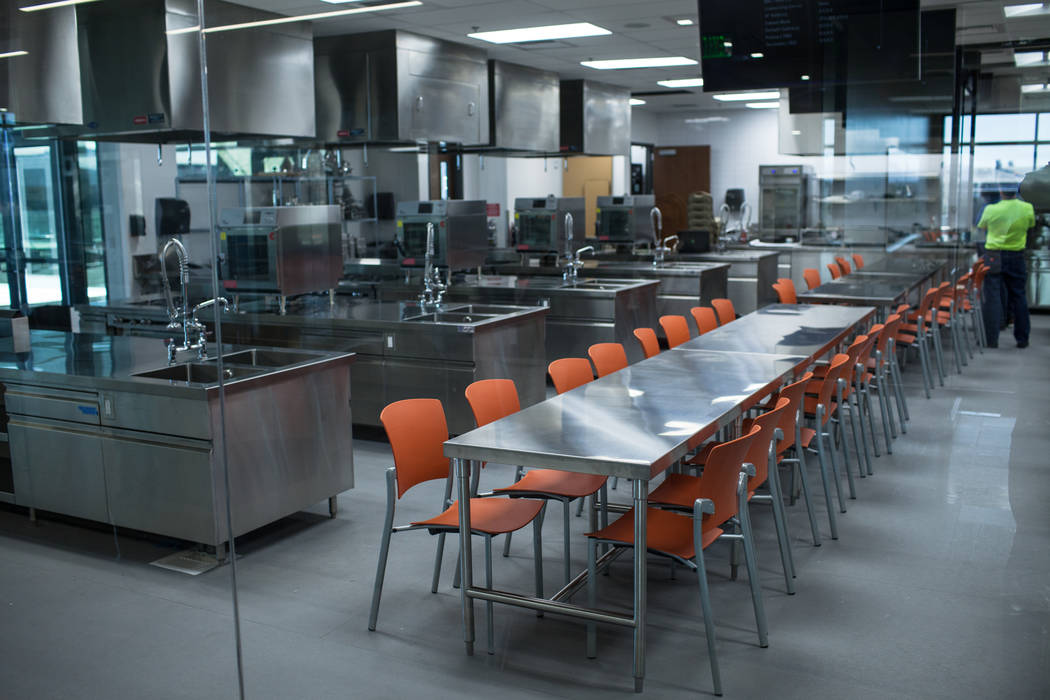 A kitchen located inside Hospitality Hall at UNLV in Las Vegas, Thursday, Dec. 21, 2017. The building is set to open in late January 2018. Joel Angel Juarez Las Vegas Review-Journal @jajuarezphoto