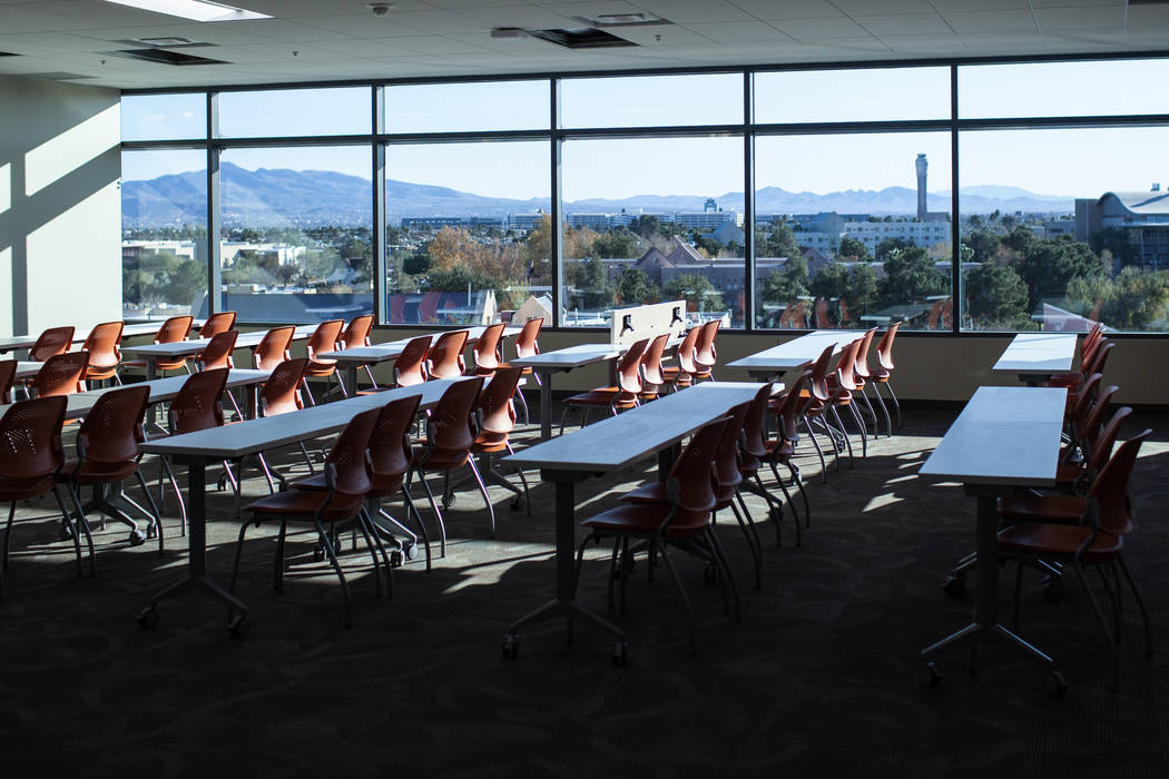 A classroom located inside Hospitality Hall at UNLV in Las Vegas, Thursday, Dec. 21, 2017. The building is set to open in late January 2018. Joel Angel Juarez Las Vegas Review-Journal @jajuarezphoto