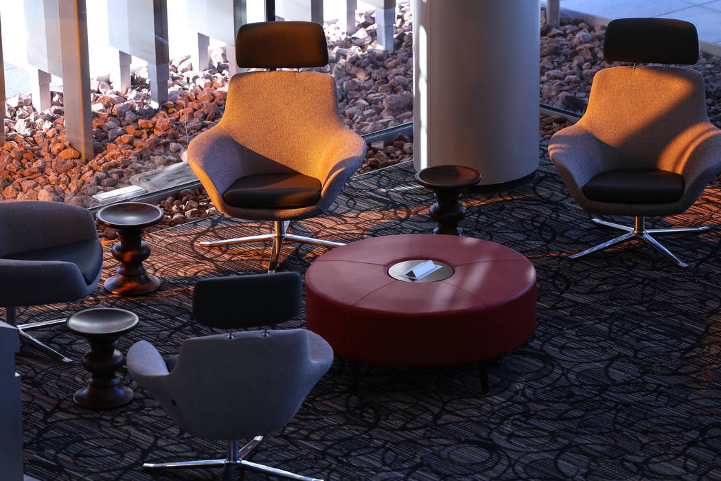 Chairs inside the first-floor lobby at Hospitality Hall at UNLV in Las Vegas, Thursday, Dec. 21, 2017. The building is set to open in late January 2018. Joel Angel Juarez Las Vegas Review-Journal  ...