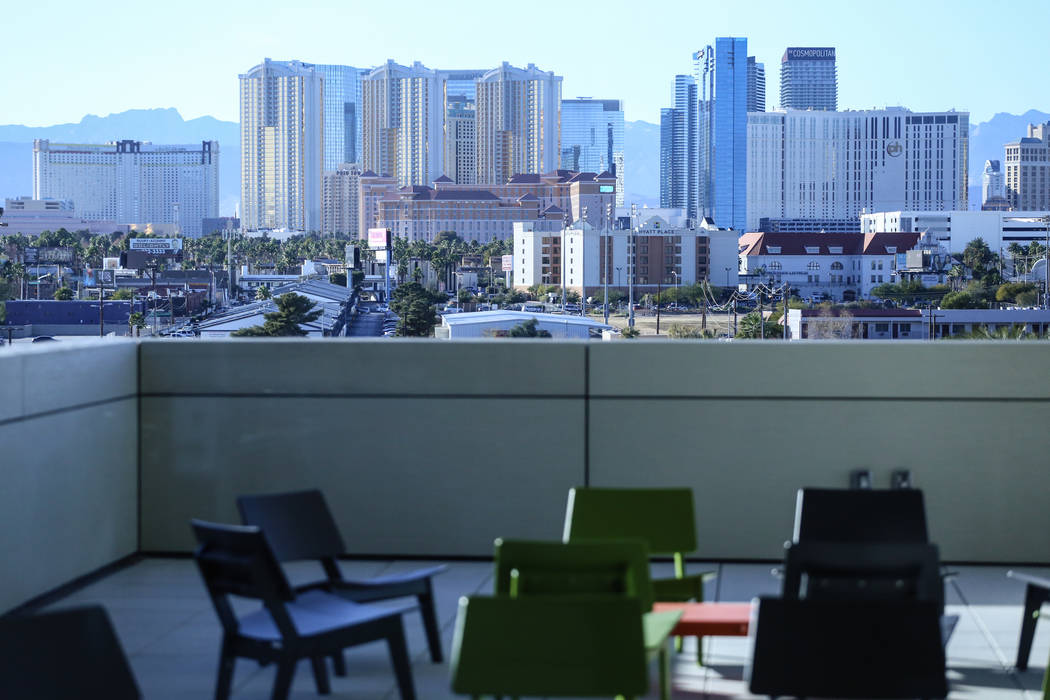 The Strip is seen in the distance from the top floor of Hospitality Hall at UNLV in Las Vegas, Thursday, Dec. 21, 2017. The building is set to open in late January 2018. Joel Angel Juarez Las Vega ...