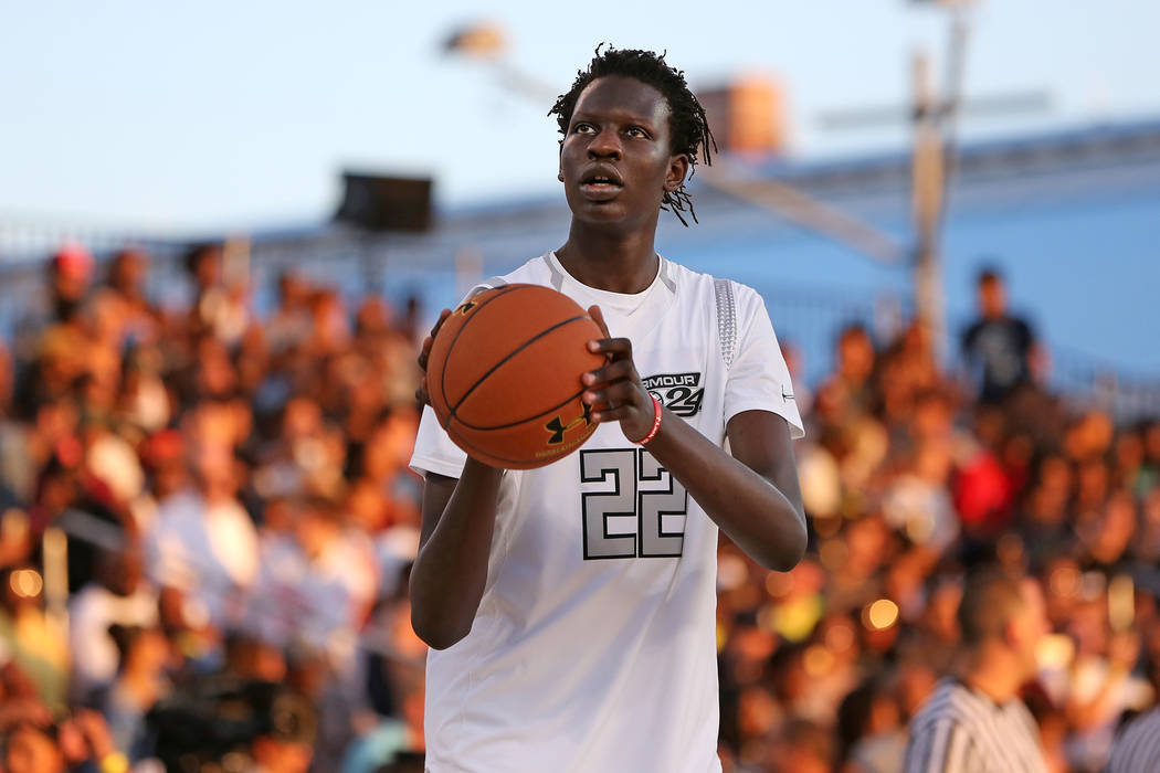 Team Clutch''s Bol Bol  #22 warms up against Team Drive in the Under Armour Elite 24 game on Saturday, August 20, 2016 in Brooklyn, NY.  (AP Photo/Gregory Payan)