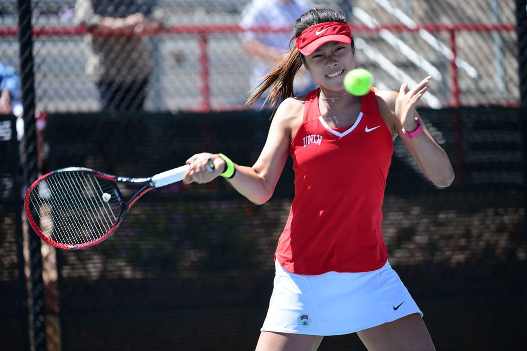 UNLV junior Aiwen Zhu, shown last season, won in singles and doubles, both against ranked opponents, on Saturday in the Freeman Memorial at Fertitta Tennis Complex. (Justin Tafoya/NCAA)